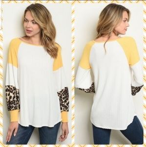 Tops - 💛White/Yellow Leopard Top💛